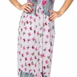 Beach Butterfly Empire Waist Tie Sleeve Maxi Dress